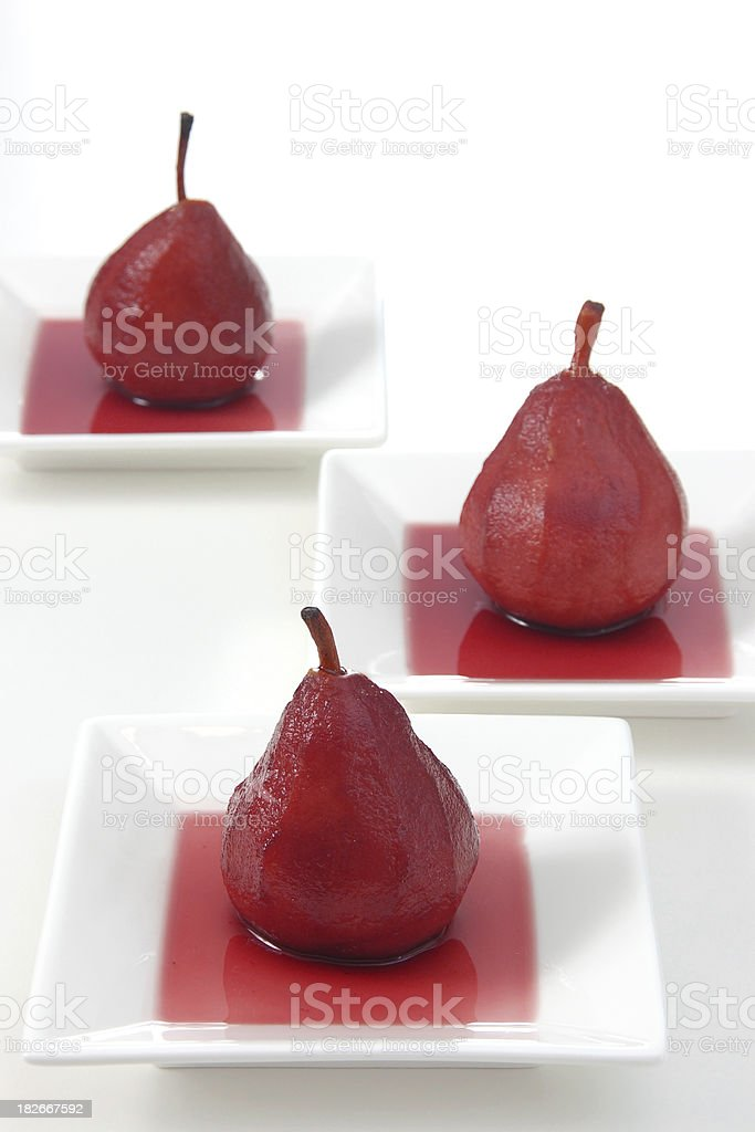 Pears Poached in Red Wine royalty-free stock photo
