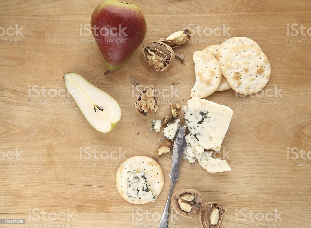 pears, walnuts and blue cheese stock photo