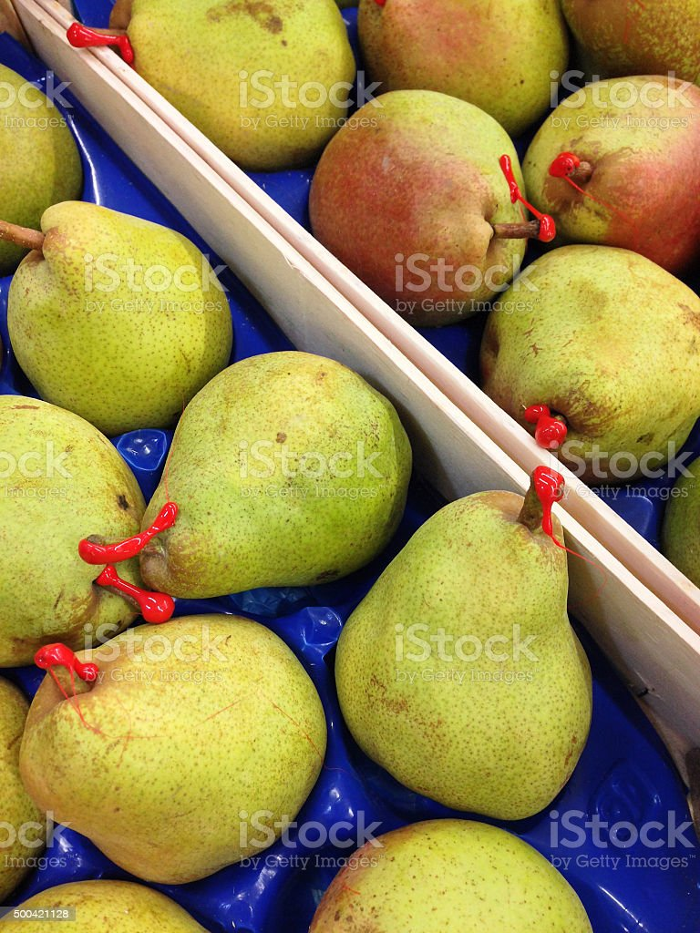 Pears, with petiole sealed with wax for extra freshness stock photo