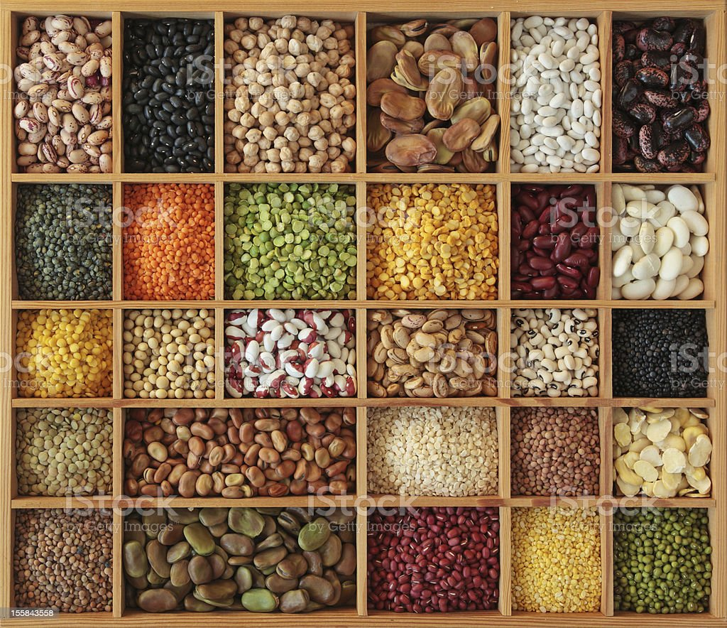 Peas, beans and lentils stock photo