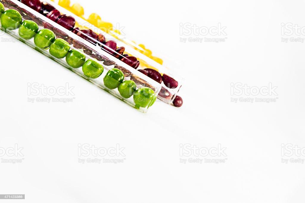peas, corn, beans on a white background stock photo
