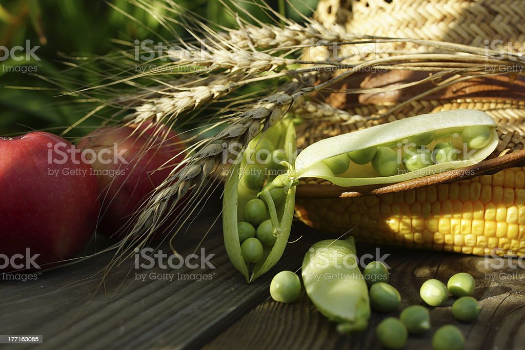 Peas, Corn, Onion and Apples. royalty-free stock photo
