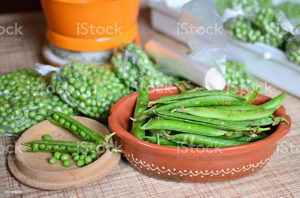 Peas storage stock photo