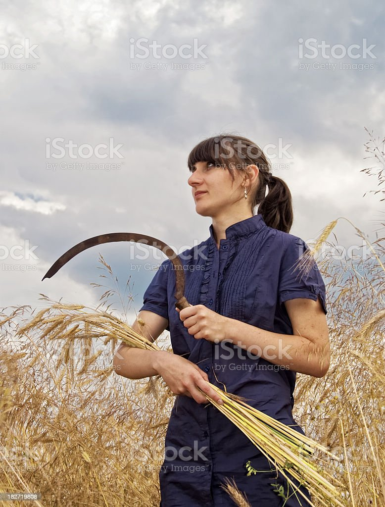 Peasant woman with a sickle stock photo