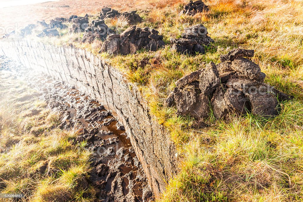 Peat block cutting in Scottish moorland stock photo