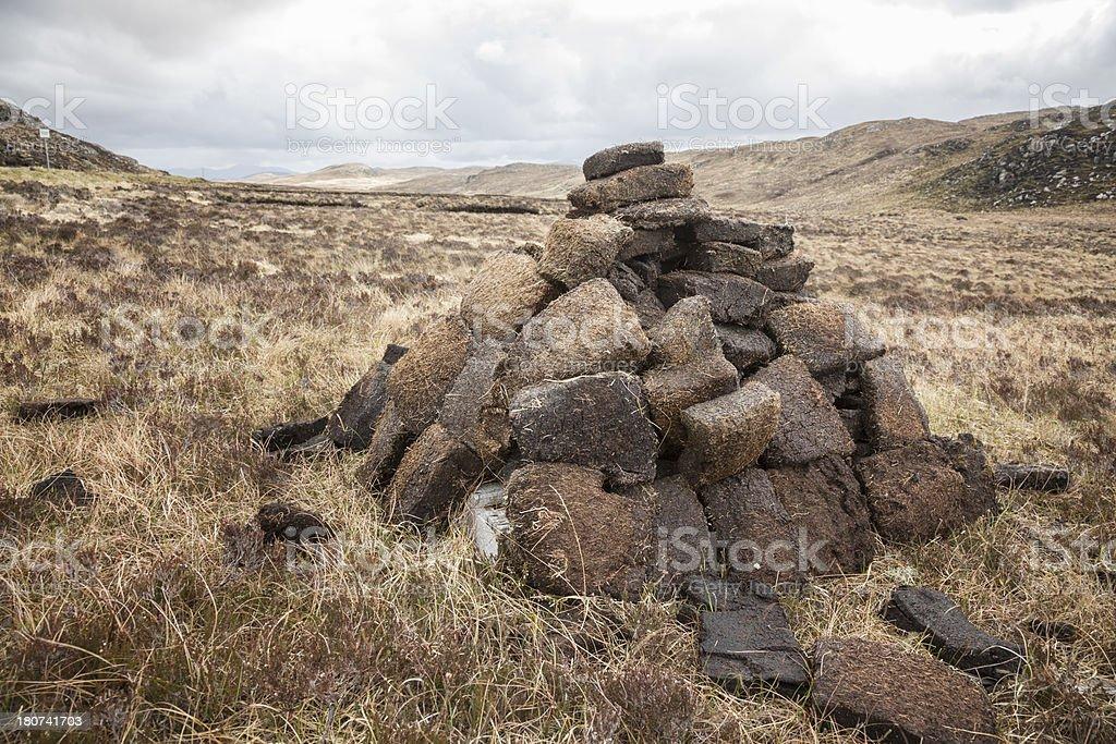 Peat Bricks Drying stock photo