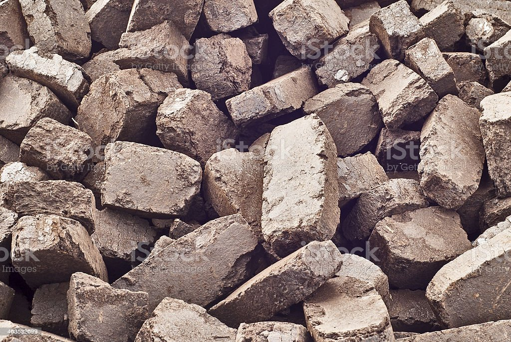 peat briquettes stock photo