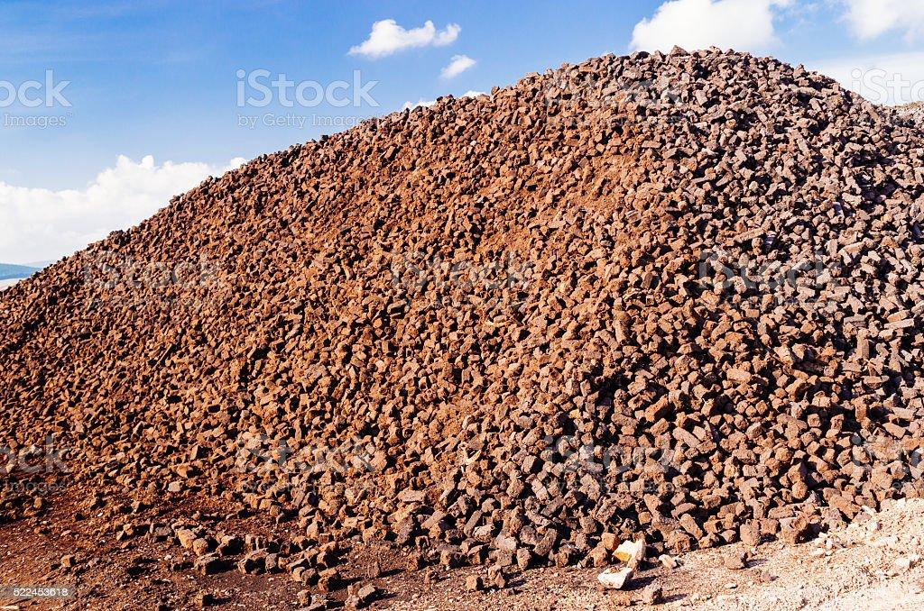 Peat briquettes stock photo