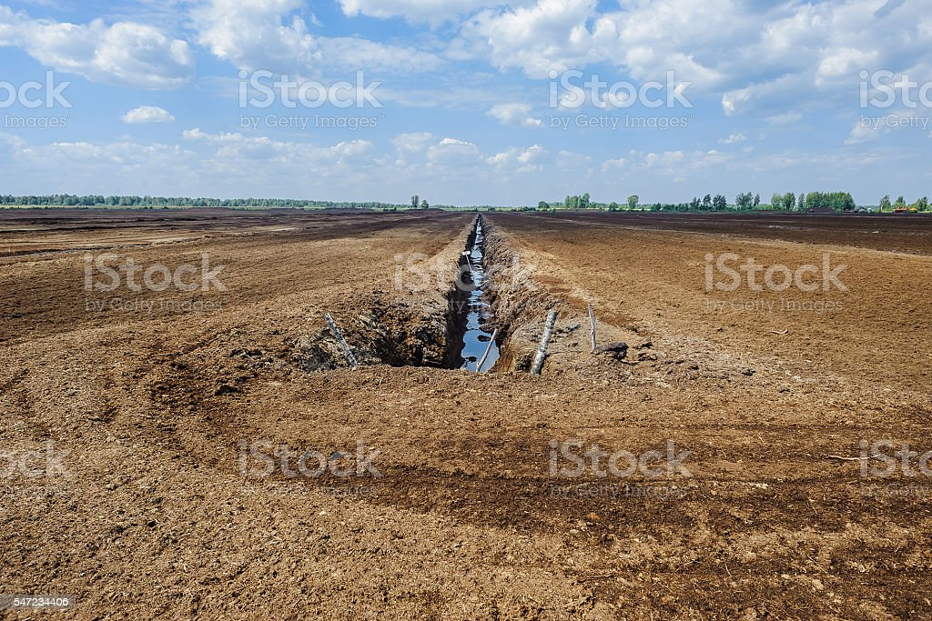 Peat extraction stock photo