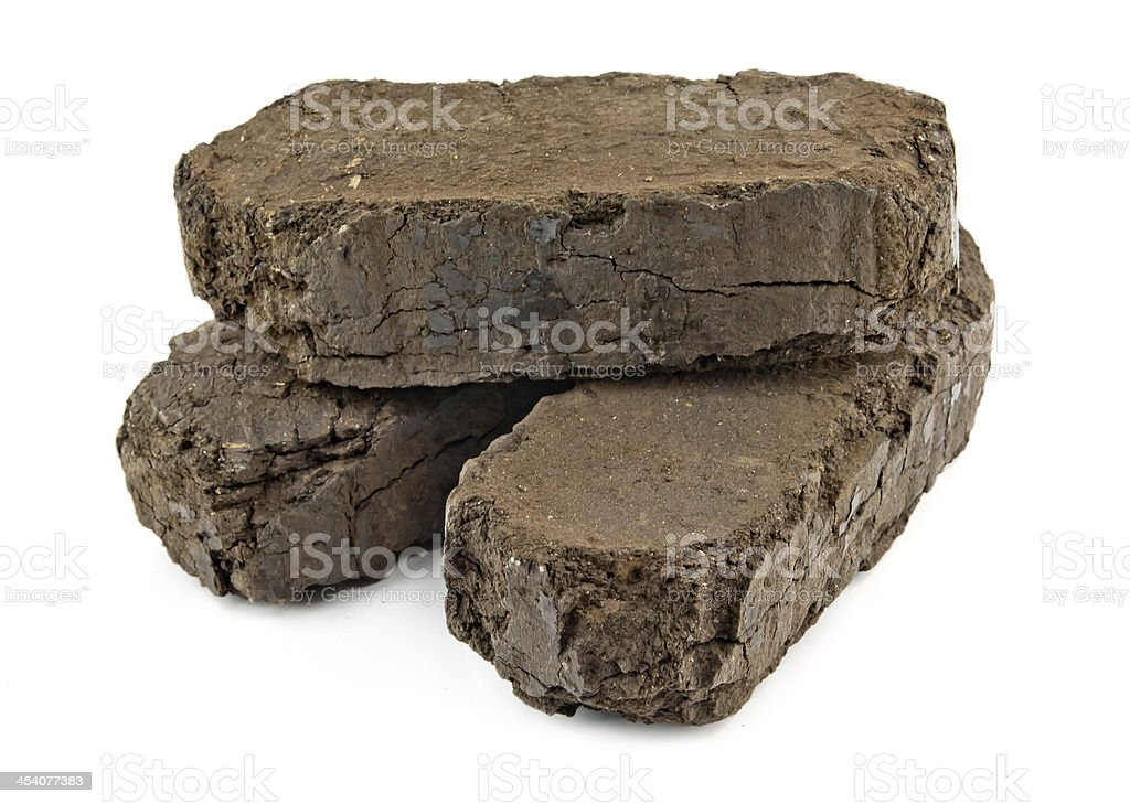 peat fuel blocks stock photo