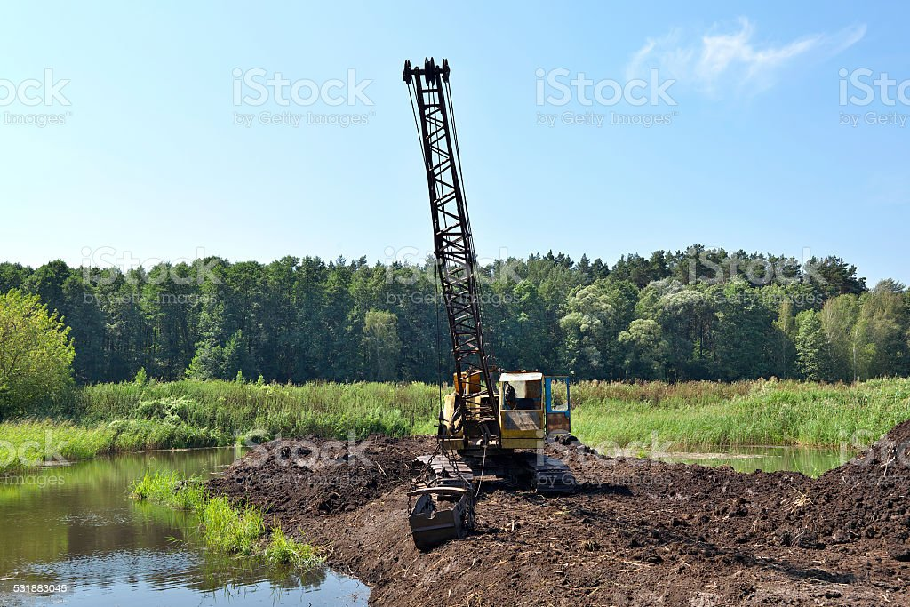 Peat mining stock photo