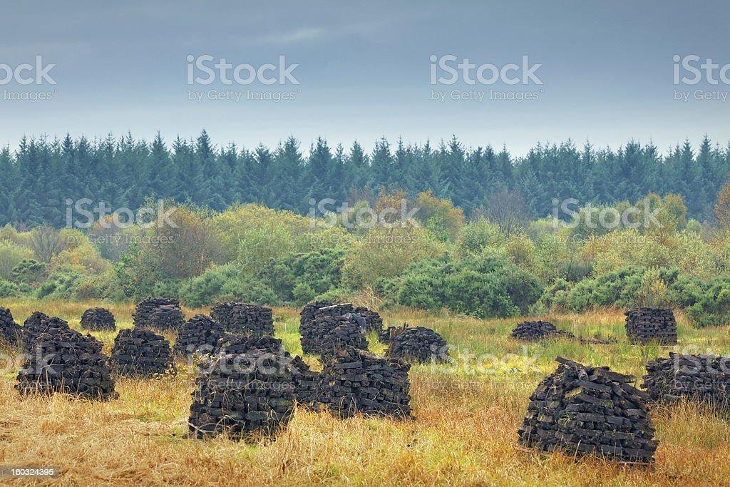 Peat stacks in Ireland royalty-free stock photo