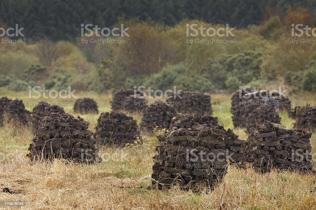 Peat stacks in Ireland royalty-free stock photo