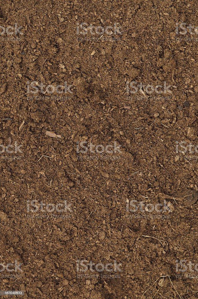 Peat Turf Macro Closeup, large detailed brown organic humus soil stock photo