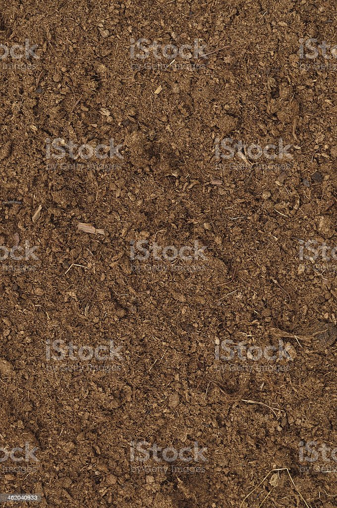 Peat Turf Macro Closeup, large detailed brown organic humus soil stock photo