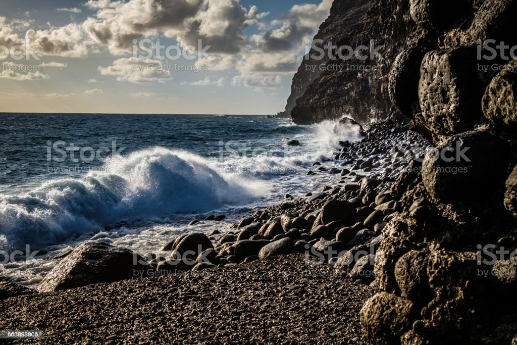 Pebble Beach at Puerto de Tazacorte, La Palma, Spain stock photo
