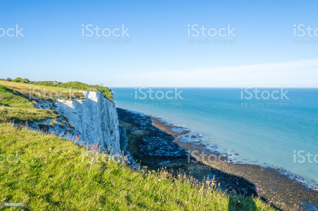 Pebble beach below the White Cliffs of Dover stock photo