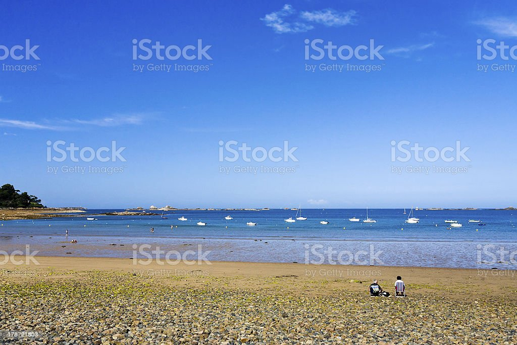 pebble beach in Brittany royalty-free stock photo