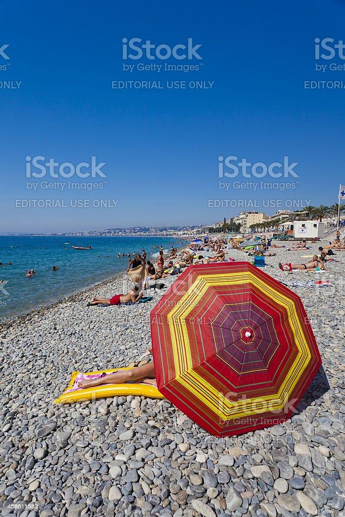 Pebble beach in Nice, France stock photo