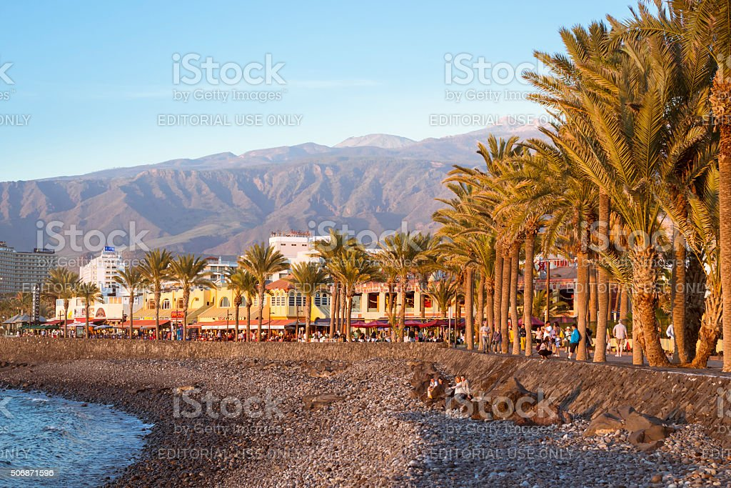 Pebble beach Playa de Las Americas, Tenerife, Canary Islands stock photo