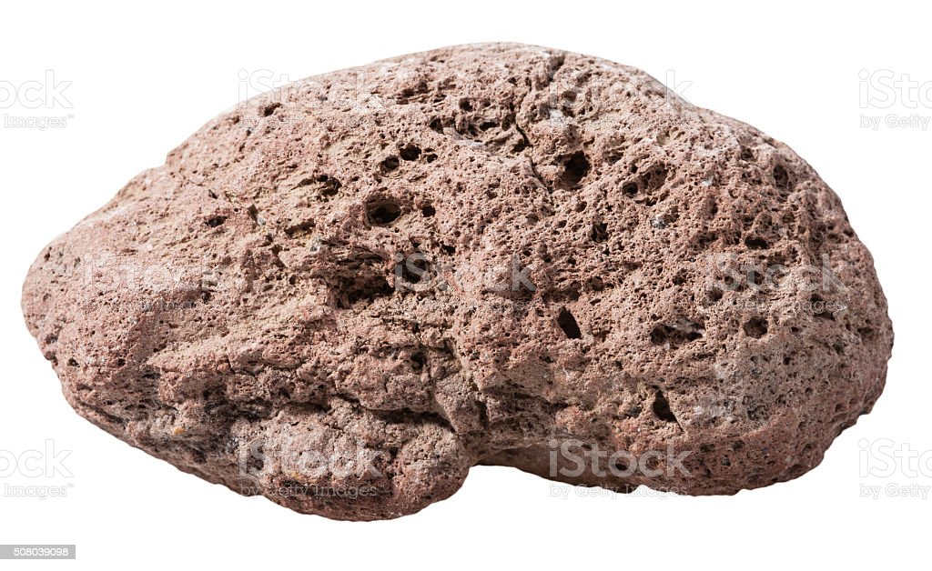 pebble from brown pumice natural volcanic stone stock photo