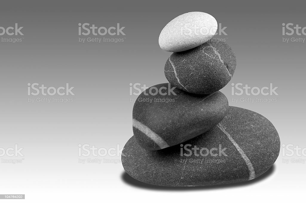 Pebble sculpture Greyscale royalty-free stock photo