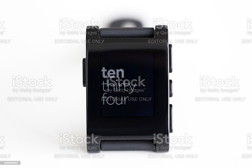 Pebble Smart Watch for Apple iPhone and Android Devices royalty-free stock photo