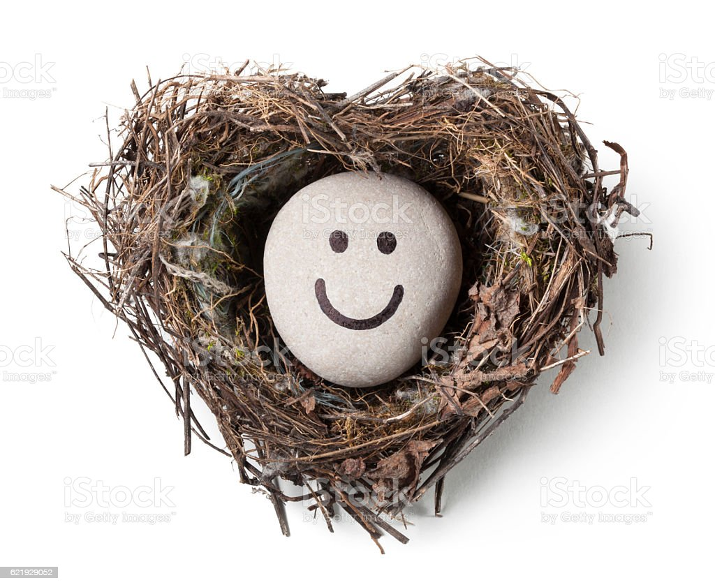 Pebble smiling in a heart-shaped nest stock photo