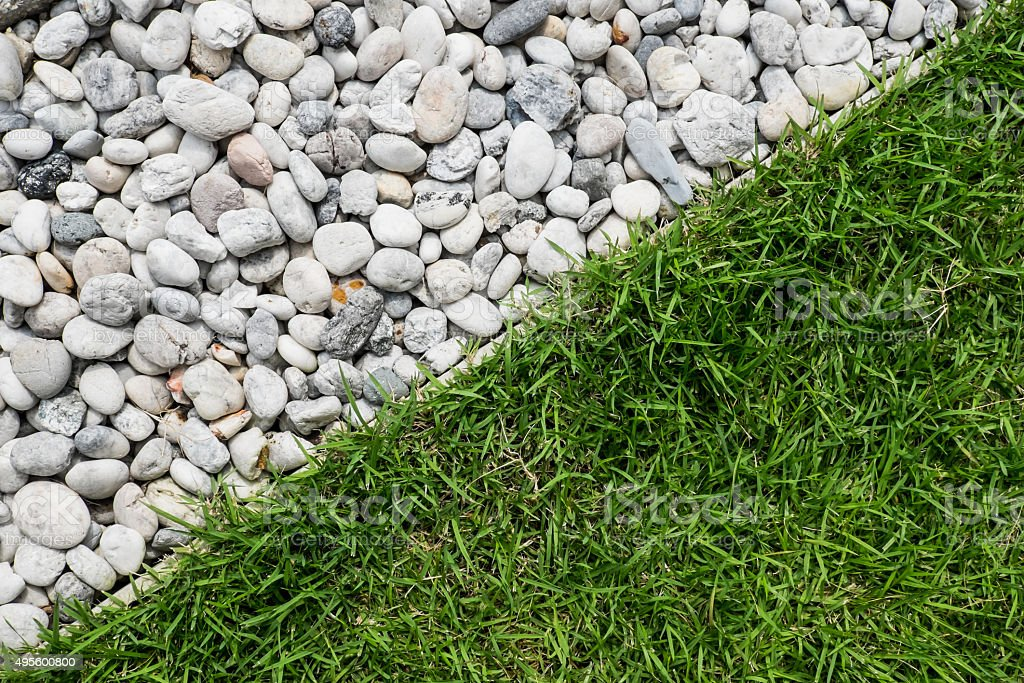 pebble stone and green grass stock photo