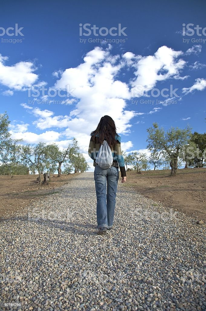 pebble track woman royalty-free stock photo
