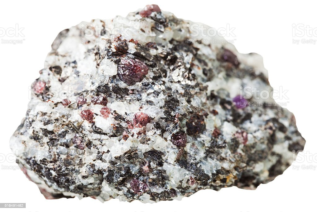 pebble with Corundum crystals isolated stock photo