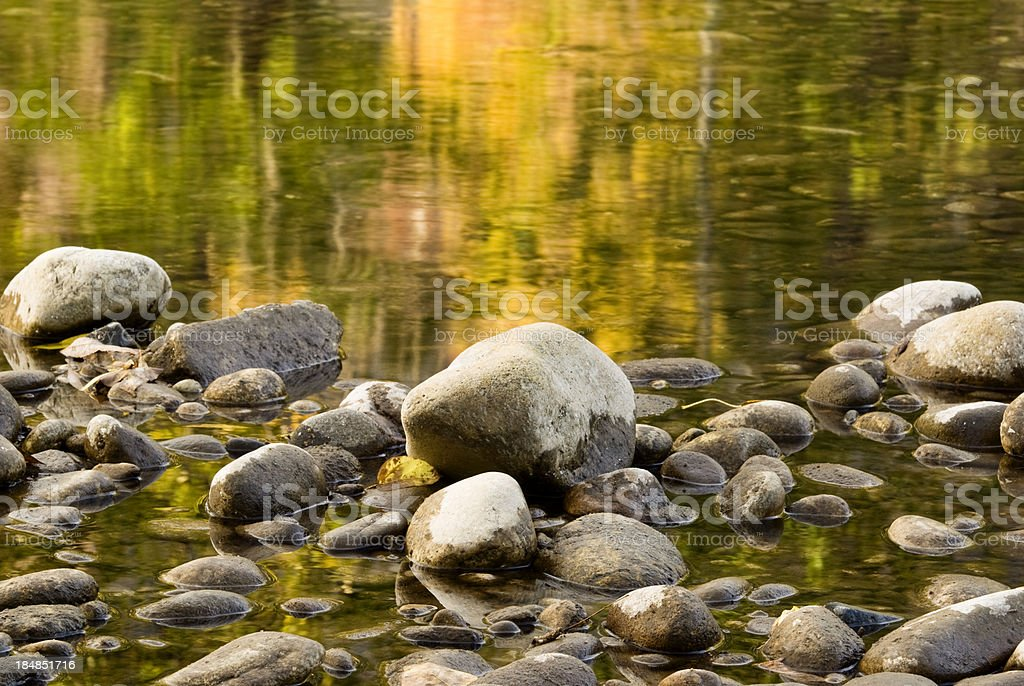 Pebbles and autumn royalty-free stock photo