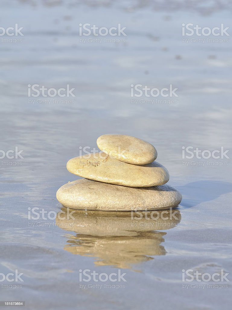 pebbles and reflections on the seafront royalty-free stock photo