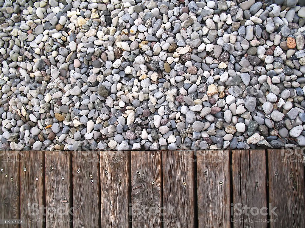 pebbles and wood stock photo