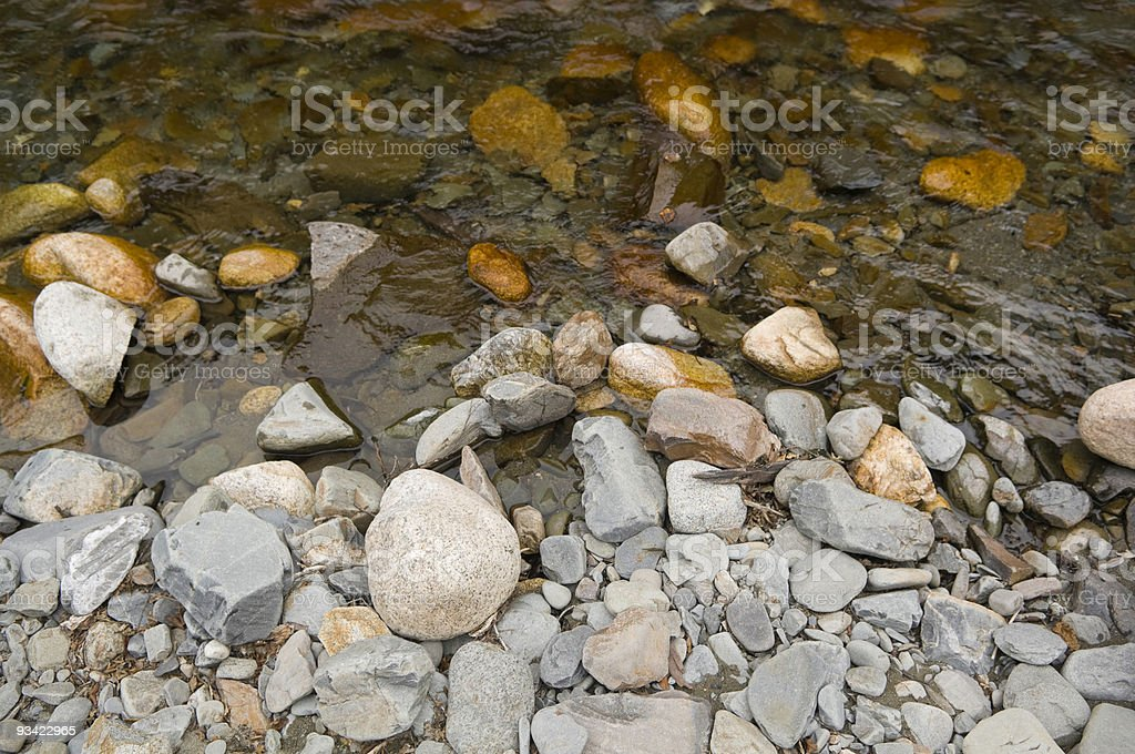 Pebbles at the River's Edge stock photo