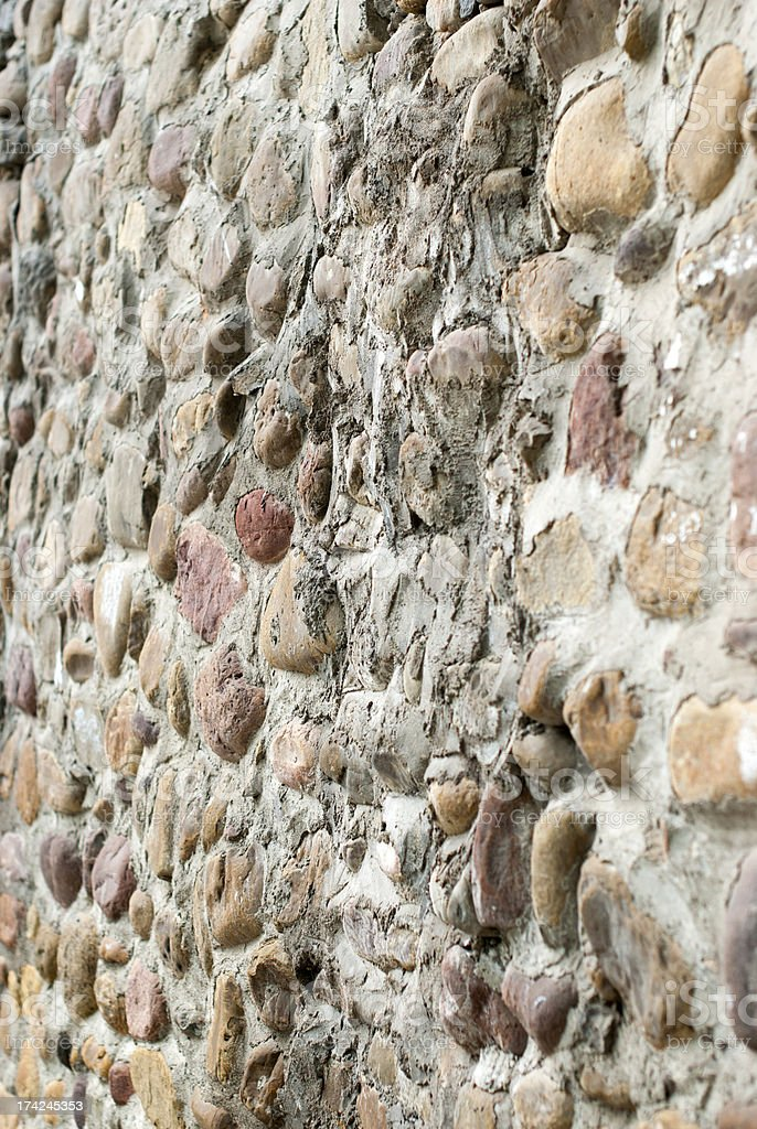 Pebbles built the wall royalty-free stock photo