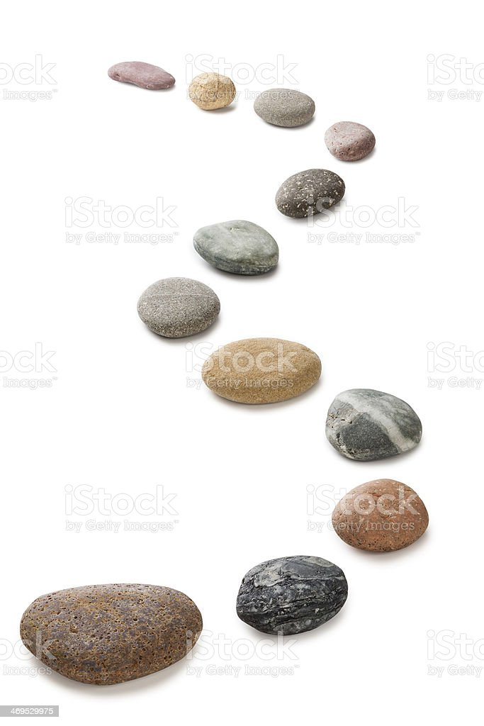 Pebbles in a Curving Line stock photo