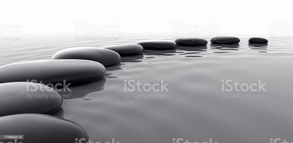 Pebbles in Water II stock photo