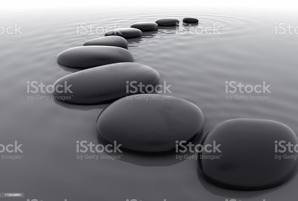 Pebbles in Water III stock photo