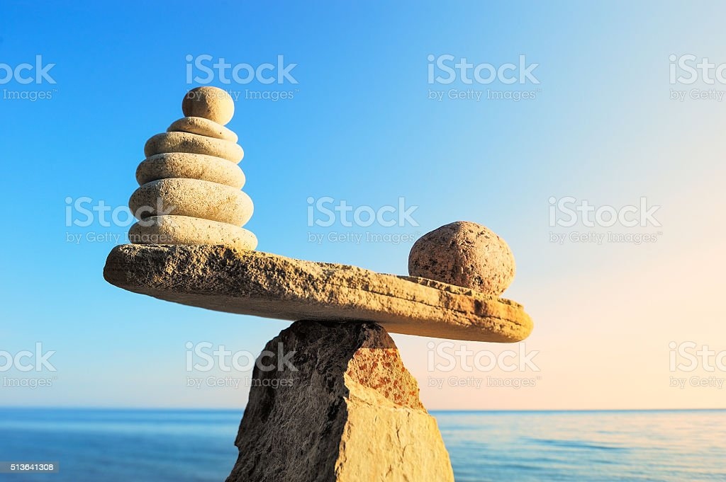 Pebbles on the sea boulder stock photo