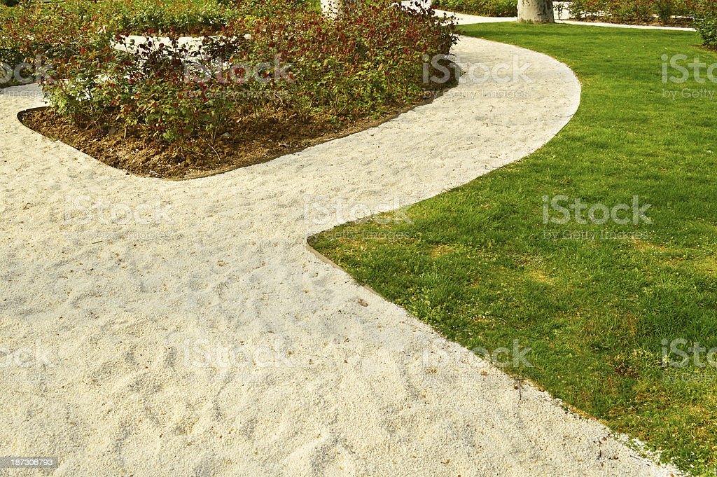 Pebbles Pathway in Park stock photo