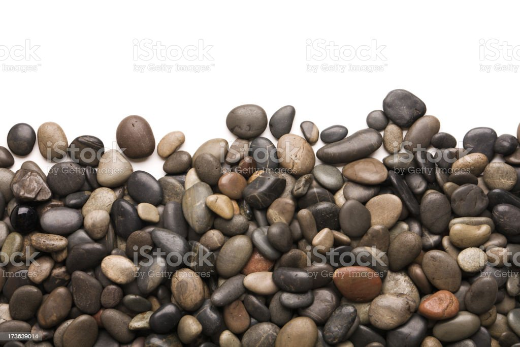 Pebbles Rock and Stone Frame Border on White Background royalty-free stock photo