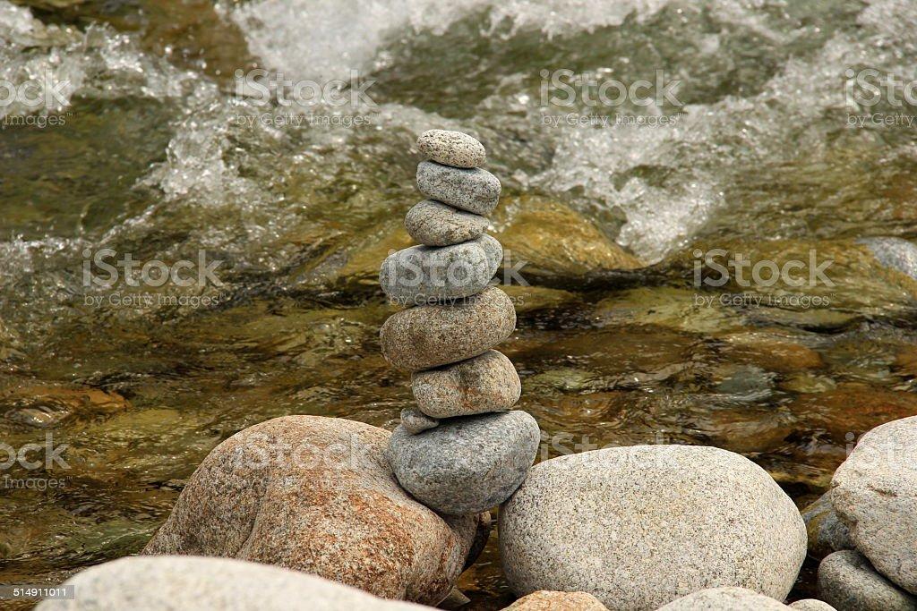 Pebbles tower stock photo