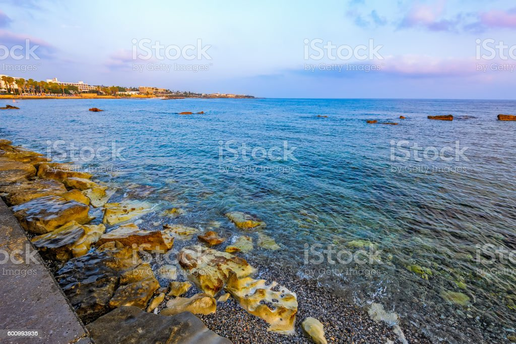 Pebbly beach in Paphos, Cyprus stock photo