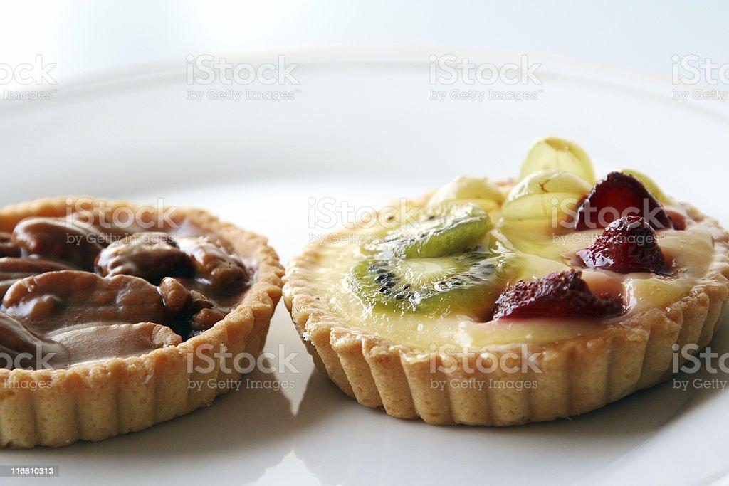 pecan and fruits tart stock photo