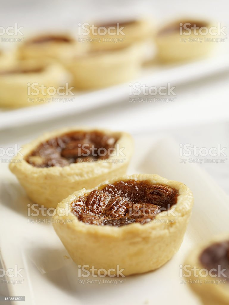 Pecan Butter Tarts on Serving Tray royalty-free stock photo