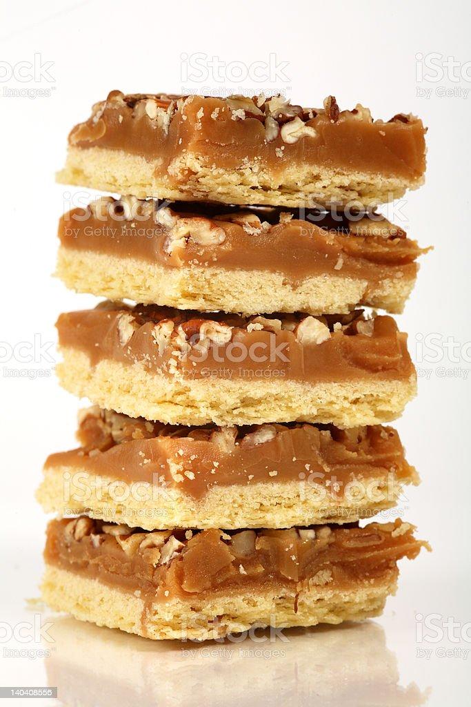 Pecan caramel shortbread cakes royalty-free stock photo