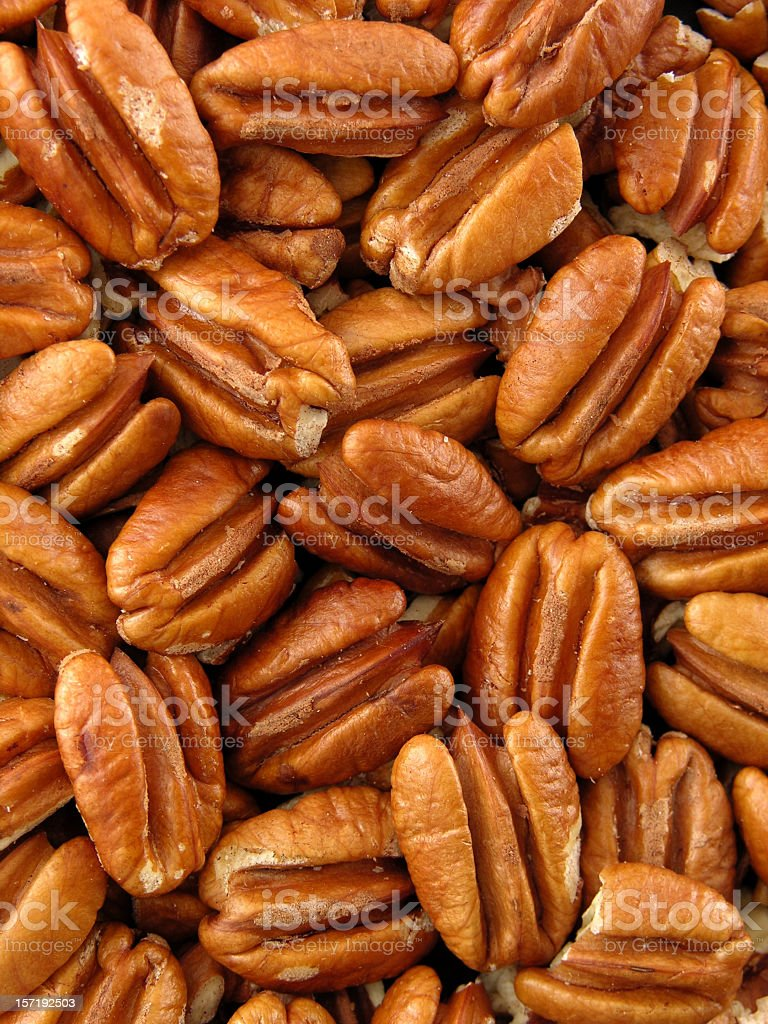 Pecan nuts background stock photo