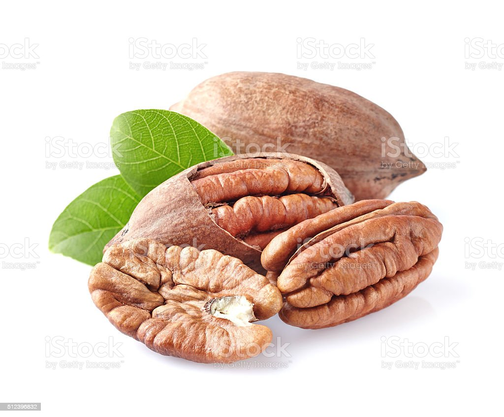 Pecan nuts in closeup stock photo