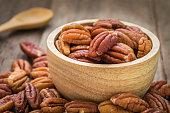 Pecan nuts in wooden bowl